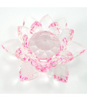 50MM Crystal Lotus- Pink accent-5.5""
