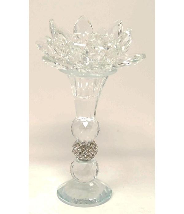 "Crystal Lotus 7.5""H tealight"