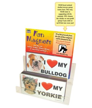"Dog I ""heart"" 4""x8"" car magnets-108 pc"
