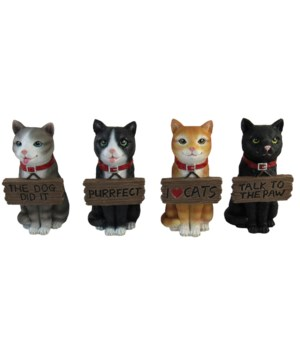 """Cats with Words 4"""" - Asst 4PC Unit"""