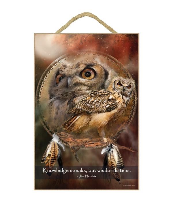 Owl  Knowledge speaks, but wisdom listens.  Jimi Hendrix 7x10.5 Sign