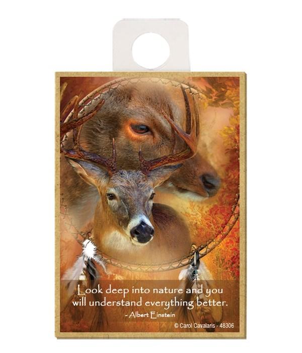 Deer  Look deep into nature and you will understand everything better.  Albert Einstein Wood magnet