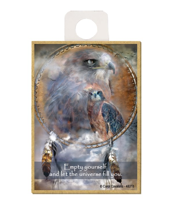 Hawk  Empty yourself and let the universe fill you. Wood magnet
