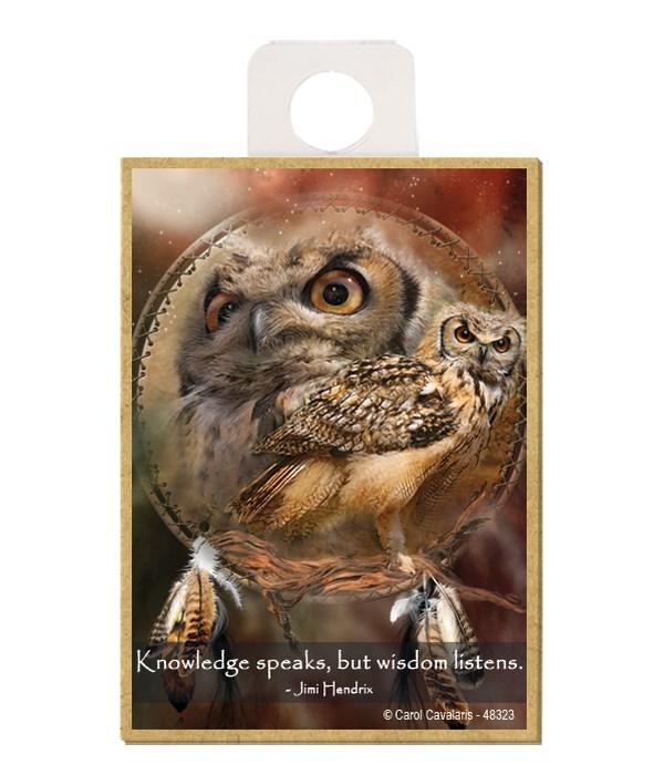 Owl  Knowledge speaks, but wisdom listens.  Jimi Hendrix Wood magnet