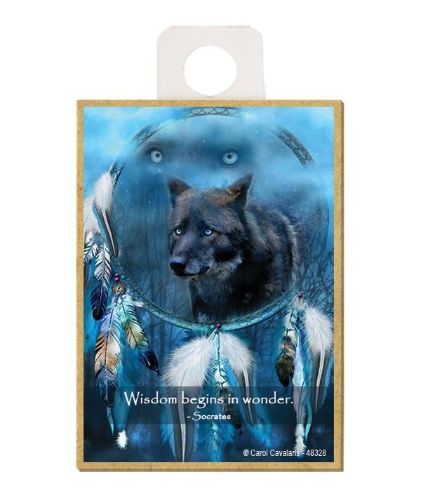 Wolves  Wisdom begins in wonder.  Socrates Wood magnet