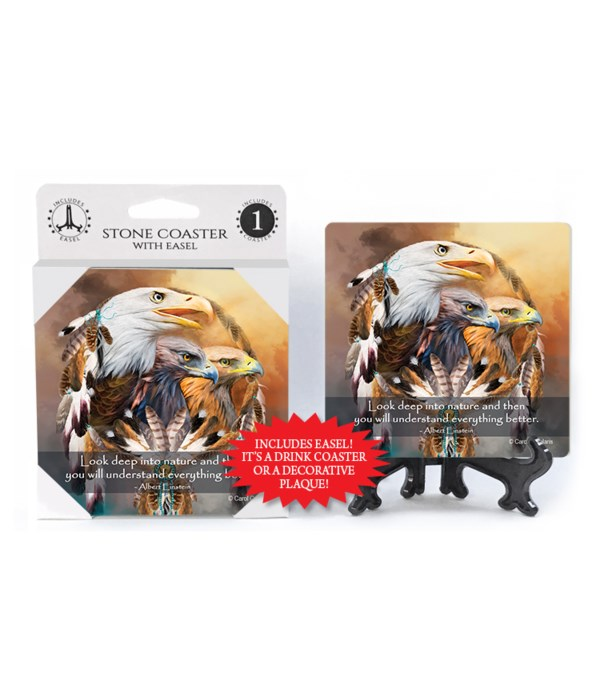 Eagle  Look deep into nature and then you will understand everything better. 1 Pack Coaster