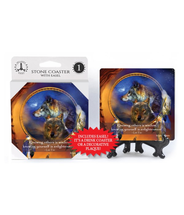 Wolves  Knowing others is wisdom, knowing yourself is enlightenment.  Lao Tzu 1 Pack Coaster