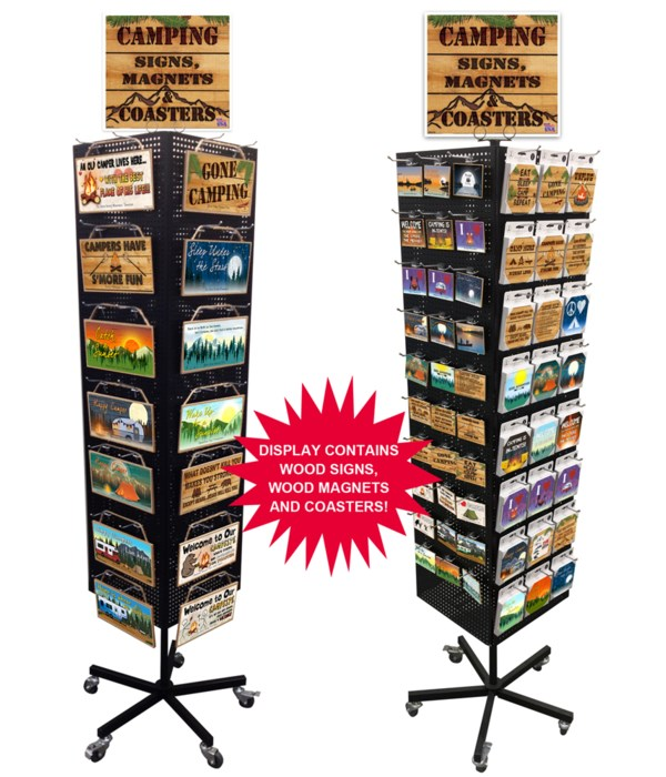 Camping-RV Mountain Theme Sign, Magnet & Coaster Display 276PC