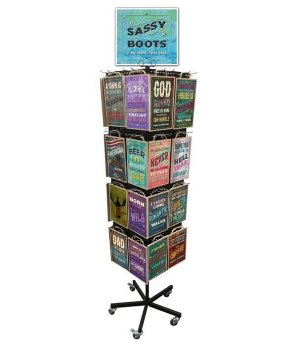 Sassy Boots 7x10.5 Sign Display 128PC