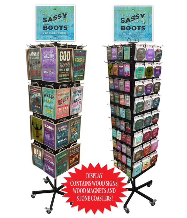 Sassy Boots 7x10.5 Sign, Magnet & Coaster Display 256PC