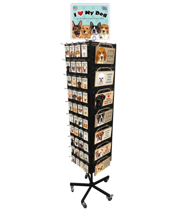 Top 21 Dog Breed Sign & Top 40 Magnet Display 248PC
