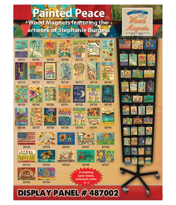 Painted Peace Wood Magnet Display Panel 40 Asst / 120PC