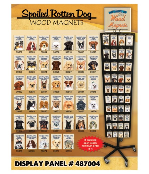 Spoiled Dogs Wood Magnet Display Panel 40 Asst / 120PC