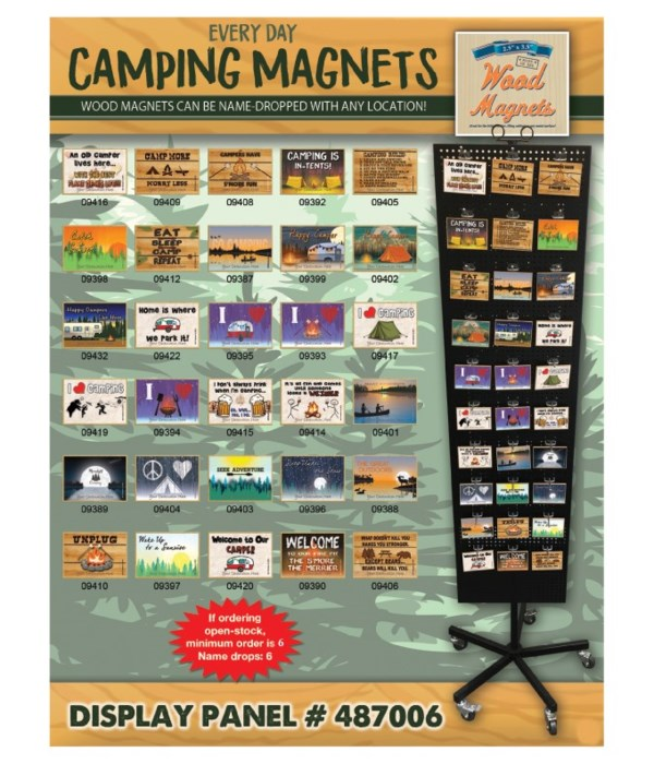 Camping Wood Magnet Display Panel 30 Asst / 120PC