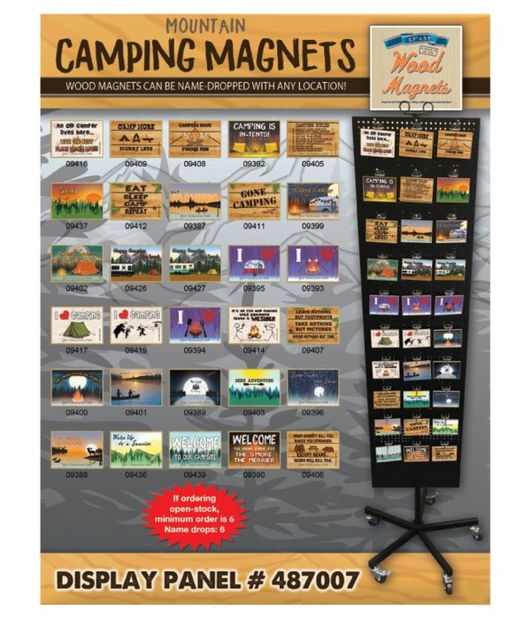 Camping (Mountains) Magnet Display Panel 30 Asst / 120PC