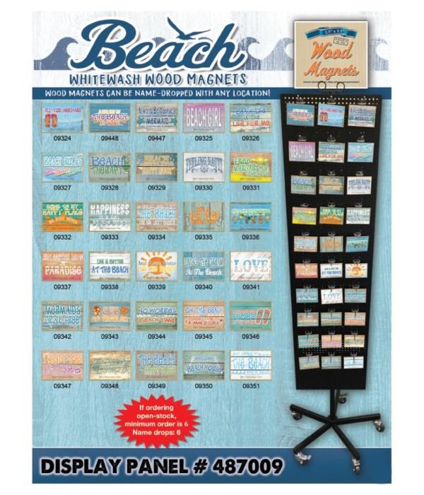 Beach (Whitewash) Wood Magnet Display Panel 30 Asst / 120PC