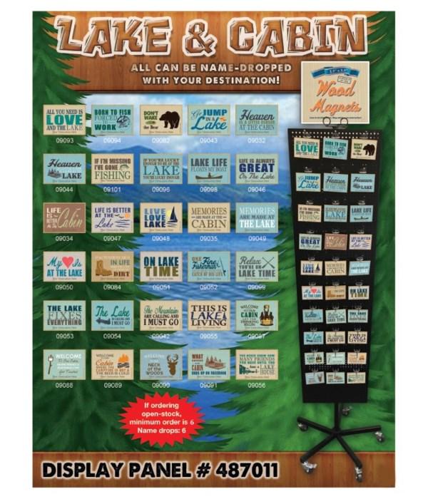 Lake & Cabin Wood Magnet Display Panel 30 Asst / 120PC