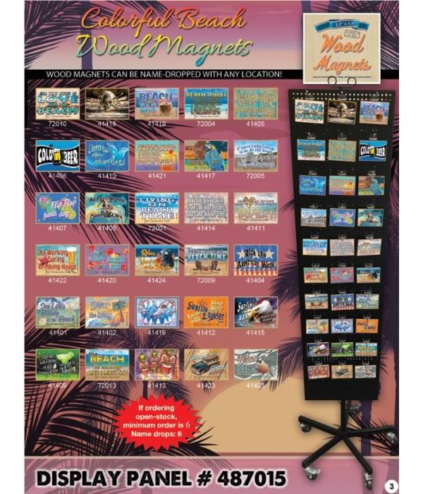 Beach-Tropical/Coastal Wood Magnet Display Panel 30 Asst / 120PC