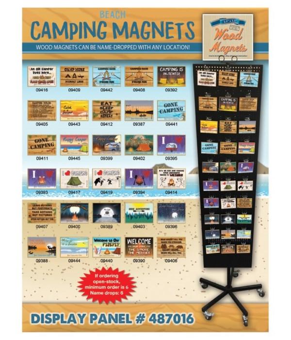 Camping-Beach Wood Magnet Display Panel 30 Asst / 120PC