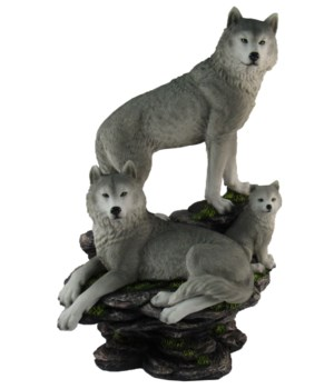 "*Wolves (family)on Rocks  L=9"" H=14"" W=7"