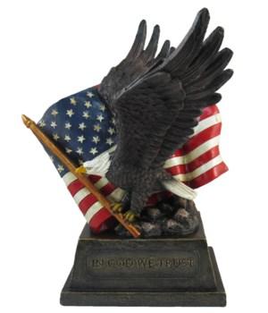 """Eagle w/ flag 10.5""""T"""