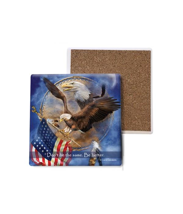 Eagle  Freedom Eagle Shield  eagle gripping American flag  Bulk Coaster
