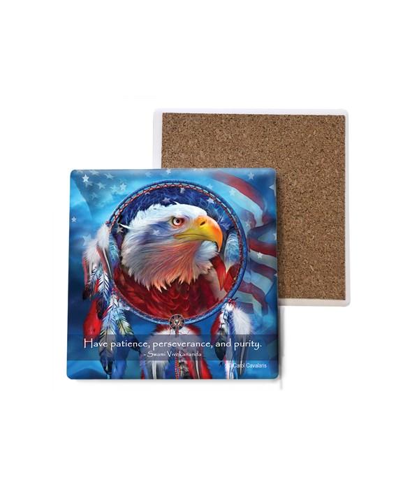 Eagle  Red, White, and Blue  side profile of eagles face  Bulk Coaster
