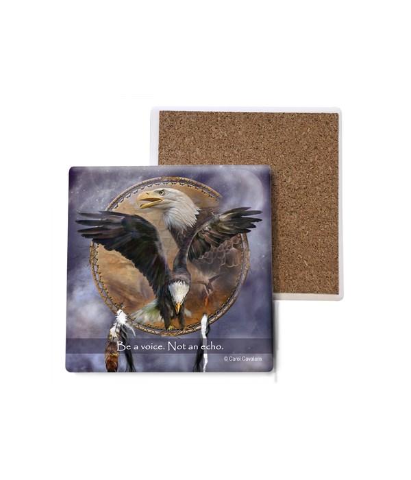 Eagle  Spirit Eagle  wings spread and side profile of eagles face  Bulk Coaster