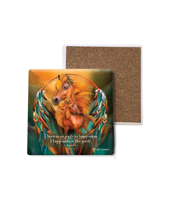 Horse  Stallion Dreams  orange with teal  Bulk Coaster
