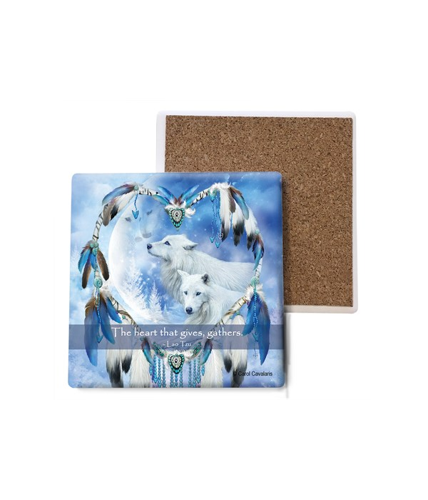 Wolf  Heart of a Wolf  Moon  white wolves Bulk Coaster