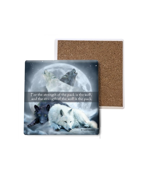 Wolf  Wolf Dreams  2 laying down, 2 howling, moon in background  Bulk Coaster
