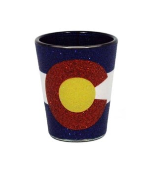 CO Shotglass Glitter State Flag