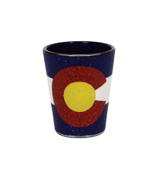 CO Shotglass Glitter State Flag