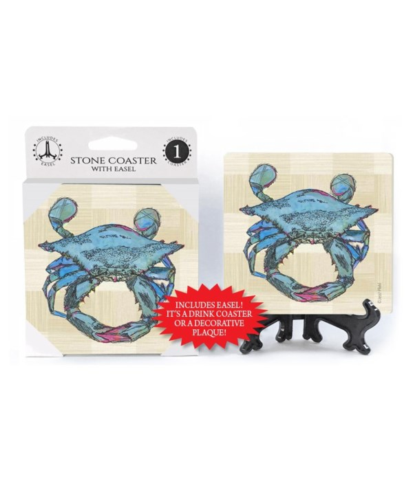 Blue Crab coaster (plaid bkgd)
