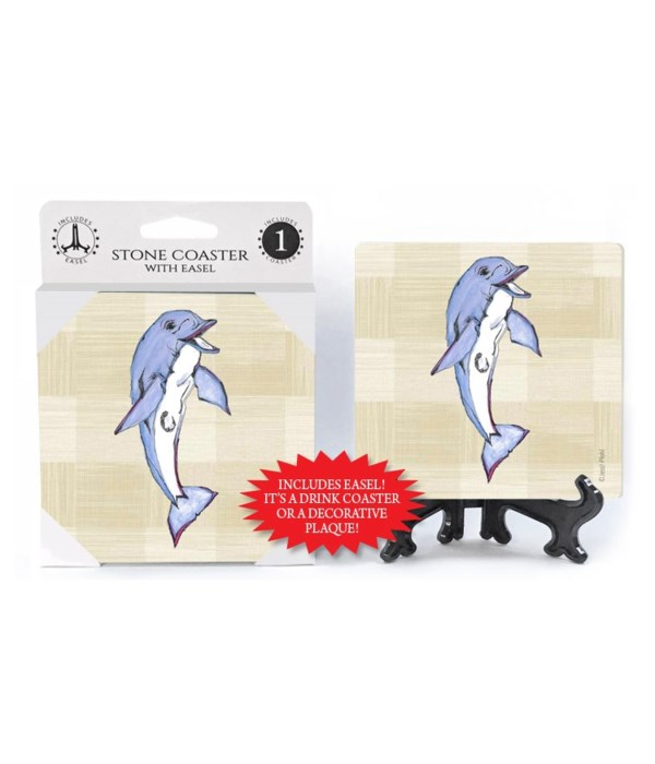 Dolphin coaster (plaid bkgd)