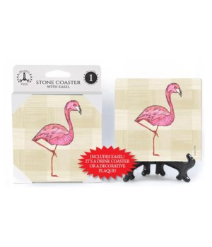 Flamingo coaster (plaid bkgd)