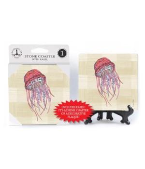 Jellyfish coaster (plaid bkgd)