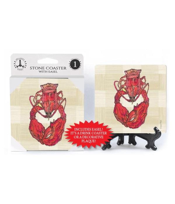 Lobster coaster (plaid bkgd)