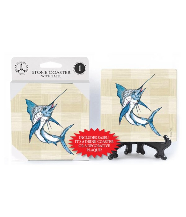 Marlin coaster (plaid bkgd)
