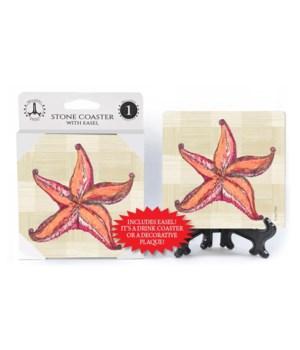 Starfish coaster (plaid bkgd)