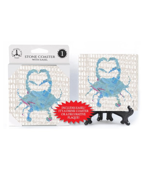 Blue Crab coaster (grey netting bkgd) wi