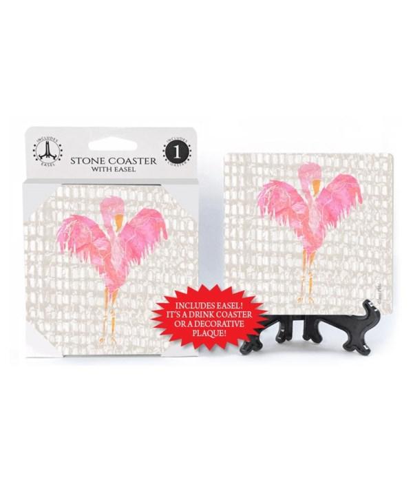 Flamingo coaster  (grey netting bkgd) wi