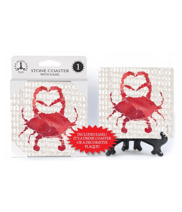 Red Crab coaster  (grey netting bkgd) wi