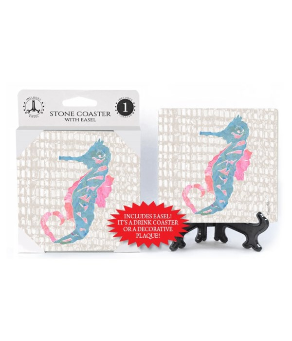 Seahorse coaster  (grey netting bkgd) wi