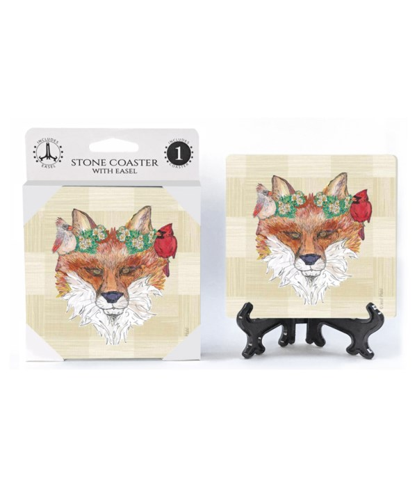 Fox with cardinals and magnolia crown Co