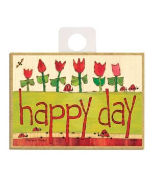 Happy day (ladybugs & red tulips) Magnet