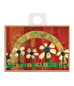 Love grows here (5 beige flowers, red ba