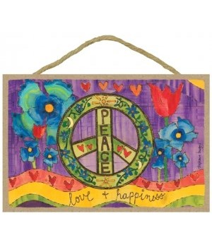 Peace - love & happiness  7 x 10.5 sign