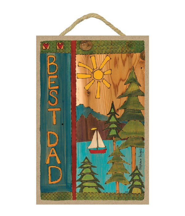 Best Dad (sun, sailboat, trees, lake and