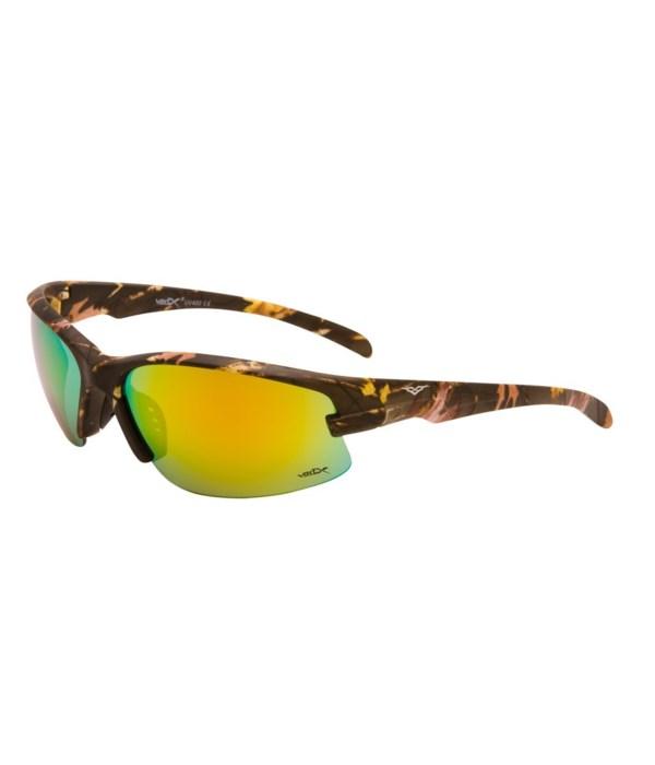 VertX Camo Sports Wrap Sunglasses w/ Matte Rubber Finish